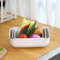 Phoenix full kitchen household rectangular plastic wash Basket leachate basket Filter water hollowed fruit storage basket three-piece set