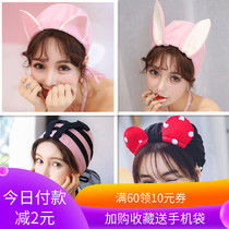 Swim cap female long hair fashion comfortable cute Korean drawstring cartoon ears Japanese swimming cap tide lace fabric