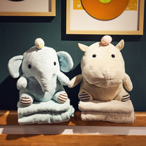 Cartoon hippopotamus Elephant Plush Pillow Quilt Dual-use puppet doll blanket personality cute sprout girl toys