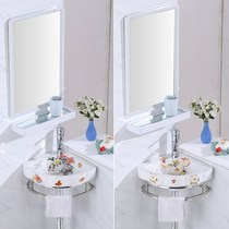 Hanging wall type wash basin Cabinet small mini pool toilet combination face wash ceramic triangle simple balcony