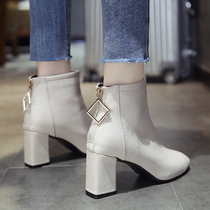 Net Red Square short boots women with thin thin boots 2019 autumn new wild Korean high-heeled shoes Chelsea boots