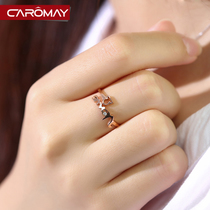 Camomey jewelry twelve constellations ring female Korean fashion rose gold open index finger ring tail ring