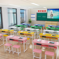 Manufacturers of primary and secondary school students desk and chair school class single double training lunch table and chair combination desk learning table