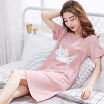 Korean version of the nightdress female summer cotton short-sleeved sweet pajamas summer thin section ladies spring and autumn cute cartoon home service