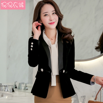 Gold Velvet jacket female short suit Female Korean version slimming 2019 new spring clothes long-sleeved small suit double row buckle