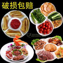 Ceramic plate divided round Western food five-grid brine platter fruit cold dishes plate divided healthy fat-reducing plate.