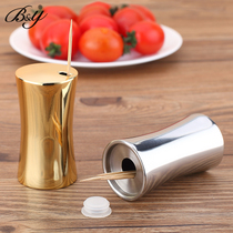 B&Y Stainless steel Toothpick Box Creative portable toothpick barrel household toothpick barrel household goods toothpick tank
