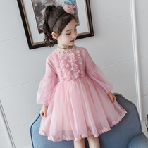 Girls dress fluffing yarn 2019 new autumn and winter clothes childrens long-sleeved little girl foreign style princess dress childrens dress