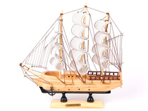 Smooth sailing boat wooden ornaments battleship sailboat model wooden boat model Craft boat wooden boat fishing boat Mediterranean boat