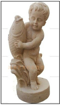 Sandstone spray water Angel spout sandstone sculpture decorative plate garden courtyard Villa fountain