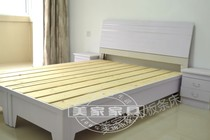 Pine slats double bed complete sets of bed plus wardrobe high box bed solid wood board bed Zhengzhou Free Shipping