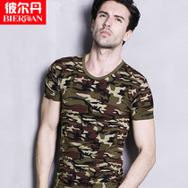 Mens camouflage round neck short-sleeved T-shirt pure cotton summer slim T-shirt casual sports T-Shirt Shirt
