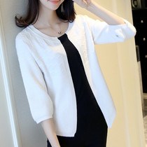 Spring and Autumn loose white sweater shoulder female outside knitted sweater cardigan short thin coat small shawl air conditioner shirt