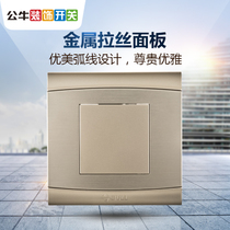 Bull switch socket 86 type whiteboard cover aluminum magnesium brushed metal bezel blank panel g19u6 Champagne Gold