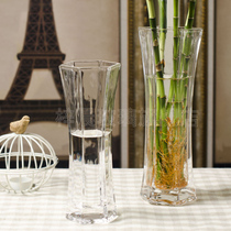 Ikea modern simple transparent crystal glass vase hydroponic lily rich bamboo flower coffee table glass Decoration