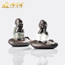 Shang Yan Fang tea pet decoration tea set accessories tea ceremony tea play brother kiln Ru kiln tea pet quiet little monk