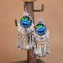 New womens Jewelry earrings earrings ethnic style embroidery earrings embroidery Miao silver earrings jewelry original earrings womens jewelry