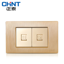 New CHiNT electrician 118 switch socket NEW5D brushed gold embedded steel two telephone computer socket