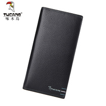 Woodpecker new mens wallet mens long section of the first layer of leather wallet business ticket folder casual wallet personality hit color