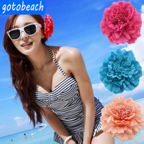 Bohemian simulation peony flower Japanese flower head ornaments with jewelry bikini swimsuit head flower corsage female