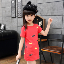 Summer new 2018 Children's clothing girls in the long section of the short-sleeved Cartoon T-shirt Korean version of the children's summer top tide
