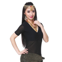 Belly-dancing top top with Indian dance practice clothing set new special price wrinkled short-sleeved top