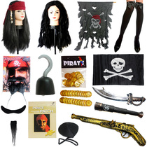 Halloween Show prop cos Caribbean pirate prop Knife Pirate gold gun pirate hook eye mask Gun Simulation