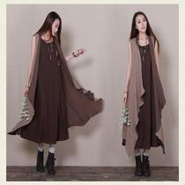 2016 spring and summer new womens cardigan cotton and linen sleeveless irregular vest vest long section shawl waistcoat