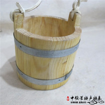 Mongolian characteristic wooden tableware yoghurt bucket handmade solid wood yogurt bucket Mongolian food tableware Yurt Hotel Supplies