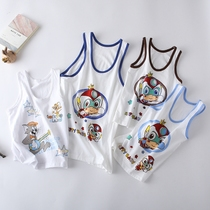 Childrens thin vest cotton summer baby close sleeveless top boy small middle child round collar lingerie