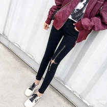 2019 spring and summer black jeans female feet Korean tight thin beggar net red rot hole tide high waist nine points