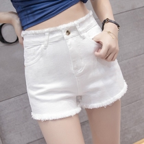 White high waist denim shorts female Summer 2019 New wear loose loose thin stretch wide leg hot pants tide