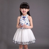 Sixty-one new childrens table skirt children Pompon princess blue and white porcelain cheongsam dance dress