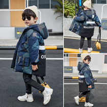 Boys winter coat jacket 2019 new foreign gas in the large children's clothing boy in the long section of warm down cotton clothing