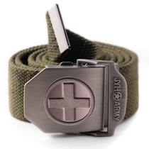Men's casual sports pants canvas woven belt outdoor military style casual wearable tactical belt adjustable