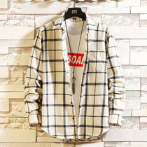 2020 spring new men's long-sleeved plaid shirt Korean trend port wind shirt ins Japanese handsome jacket