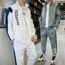 2020 spring and autumn new men's Korean version of casual sportswear set Tide brand plump handsome Hong Kong with a set of trends
