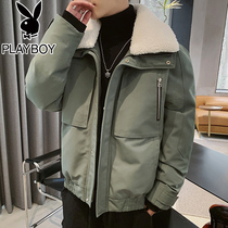 Playboy 2019 new winter lamb wool coat mens Korean trend cotton clothing Tide brand cotton jacket