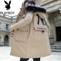 Playboy long section of cotton mens 2019 Winter Korean version of the trend of cotton clothing jacket Tide brand Men warm cotton jacket