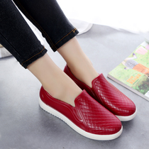 South Korea shallow mouth rain shoes female fashion adult flat male short tube non-slip low to help kitchen work rubber sleeve water shoes boots female