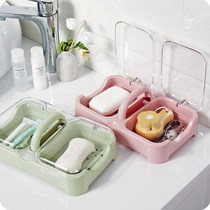 Creative double grid with cover drain double grid Soap Box portable soap box bathroom bathroom soap box large soap box