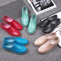 Spring and summer low to help Rain Boots female shallow saliva shoes non-slip short tube rain boots waterproof rubber shoes fashion Work Mens shoes