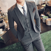 Suit Men suit casual solid color small suit Korean business slim dress groom handsome wedding dress youth
