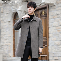 2019 Winter New Double-sided Wool Sone Coat Men's Long Non-Cashmere Lapel Windbreaker Style Ritthrough