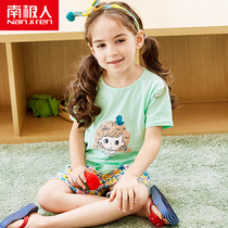 2018 Childrens cotton childrens clothing summer T-shirt in the Big childrens short-sleeved set of girls baby Korean version of the suit