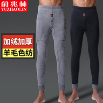Yu Zhaolin men's cashmere thick warm pants autumn and winter autumn and winter trousers underwear youth slim leggings line pants velvet pants