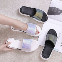 2019 new cool slippers female summer wild lazy thick bottom fashion ins tide slope with sequins ladies slippers wear