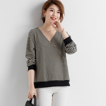 Plus size womens spring and autumn striped sweater shirt loose fat sister Western skinny V-neck bottoming shirt