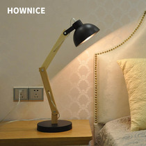 Learning reading table lamp living room bedroom bedside table lamp LED energy saving eye wood rod warm light wrought iron table lamp