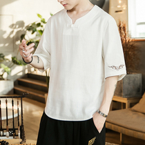 Summer Chinese wind mens t-shirt mens short-sleeved clothes on the clothes hanfu loose XL linen half-sleeved trend